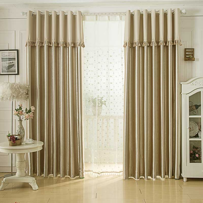 Simple Modern Curtain with Tassel Valance Thick Jacquard Blackout Curtain  for Living Room Bedroom Curtains for Window Decoration