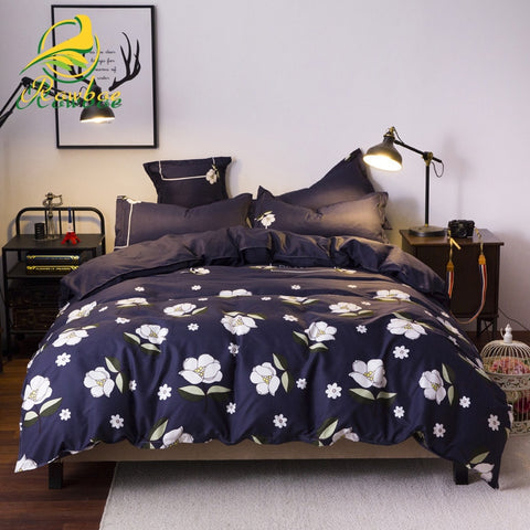 Bedding set luxury  polyester material 3 & 4 pieces including quilt cover sheet pillowcase, can be used for family and hotel