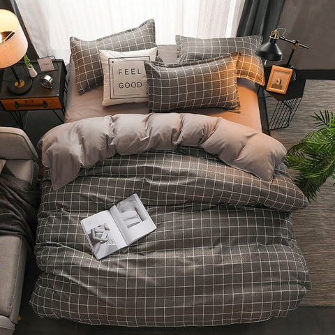 King Size Duvet Cover Set Queen Size Plaid Gray Bedding Sets for Men Double Bed Cover Single Beddings and Bed Sets