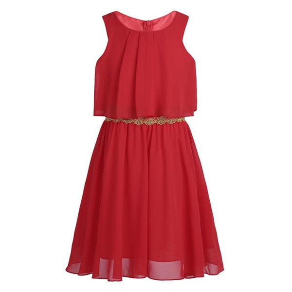 Girls Chiffon Pleated Ruffled Popover Dress with Decorative Trim for Birthday Party Summer Brief Dress Prom Dresses