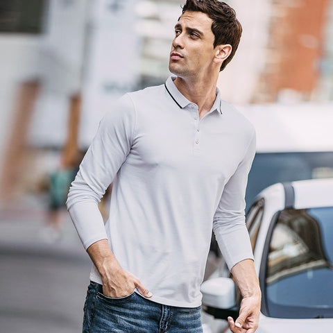 Autumn Men Poloshirts Cotton Patchwork White Black Color For Man Fashion Long Sleeve Slim Clothes New Male Wear Tops