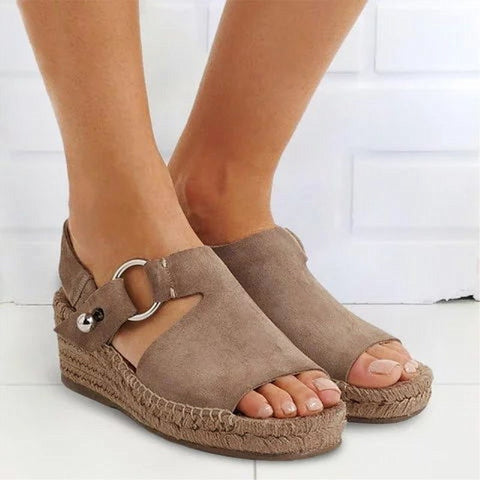 Summer Wedges Heel Sandals Peep Toe Med Heel Height Increasing Platform Shoes Women Plus Size Matt Leather Casual