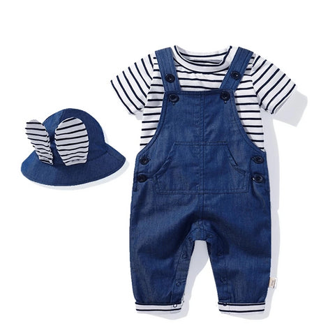 Children overalls Jeans Baby Boys Girls Fashion Cotton Short sleeve T-shirt  Pockets Trousers and hat infant newborn clothes set