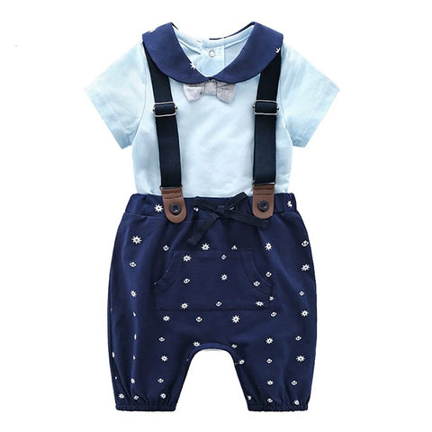 Baby Overalls short Sleeve Rompers pant Clothing sets Cotton New infant Newborn Girl Boy Jumpsuit suit 1 2 birthday clothes