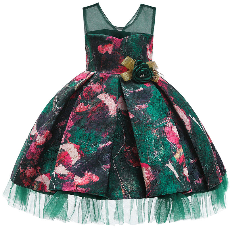 08ebd4ea035 Girls Red   Green Flower Printed Elegant Kids Tutu Birthday Princess Party  Dress for Girls Infant ...