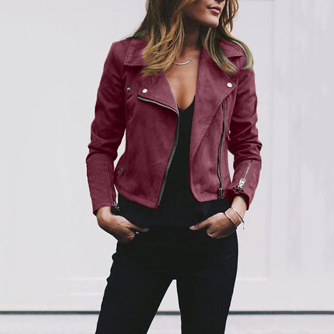 Autumn New Short Soft Jacket Women Fashion Zipper Motorcycle Jacket Ladies Basic Street Coat