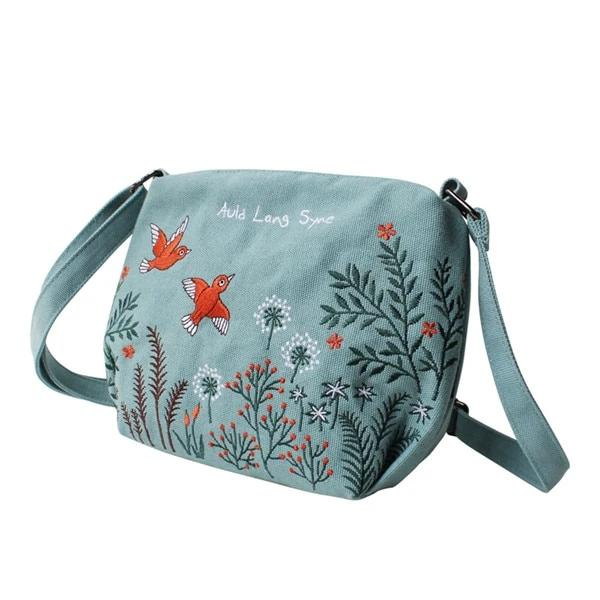 Original Design Women's Bag with Embroidery Canvas Girls Shoulder Bags Female Crossbody Bag Small Casual Handbags