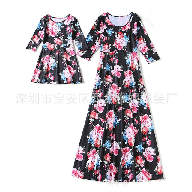 Mother Daughter Dress Long Sleeve Flowers Prints Europe and
