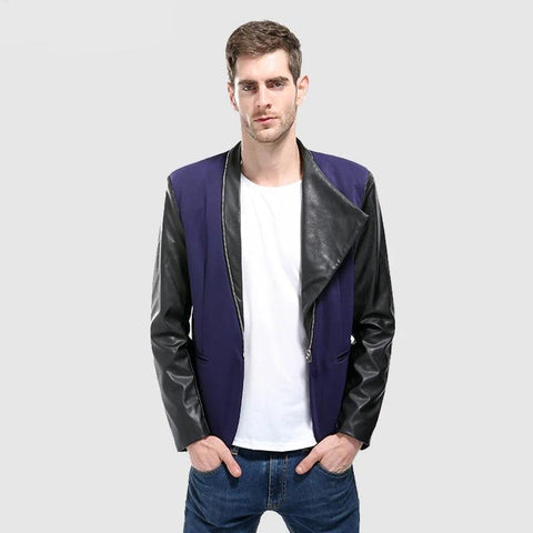 Blazers Men New Patchwork Casual Turn-down Collar Male Outerwear Simple Solid Fashion Zipper Pu Leather  Men Jackets