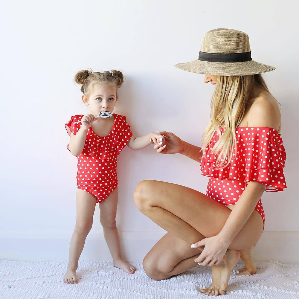 05246e210 Mother And Daughter Swimsuit Mommy And Me Swimwear Bikini Family Matching Clothes  Outfits Look Mum Baby ...