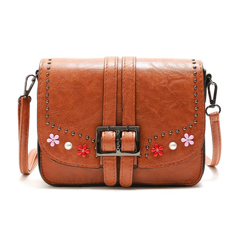 Spring Female Rivet Diamond Soft Leather Shoulder Bags Handbags Women Famous Brands Floral Messenger Bag Sac A Main