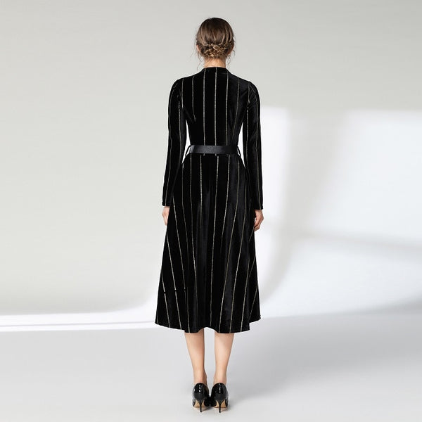Black Office Long Sleeve Women Dress Winter Midi Runway Party Dress Streetwear
