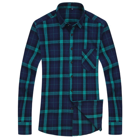 New Mens Plaid Shirt 100% Cotton High Quality Mens Business Casual Long Sleeve Shirt Male Social Dress Shirts Flannel