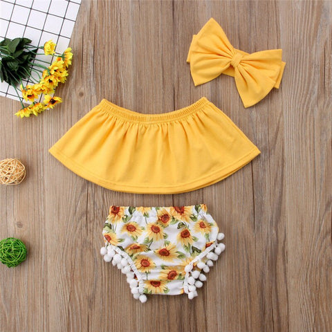 Summer Sleeveless Off Shoulder Crop Tops Sunflower Shorts Headband Costume Outfits 3Pcs Newborn Infant Baby Girl Clothes Set