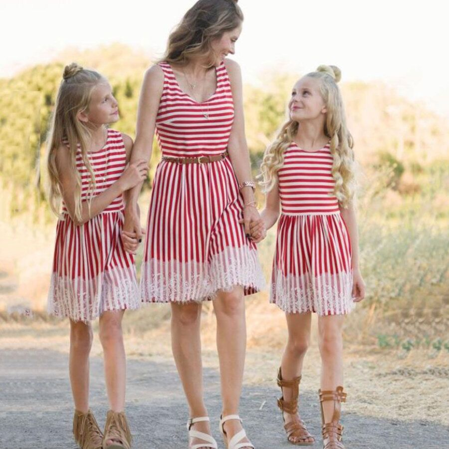 76b070a874 Mommy and Me Family Matching Mother Daughter Dresses Clothes Striped Mom  Dress Kids Child Outfits Mum ...