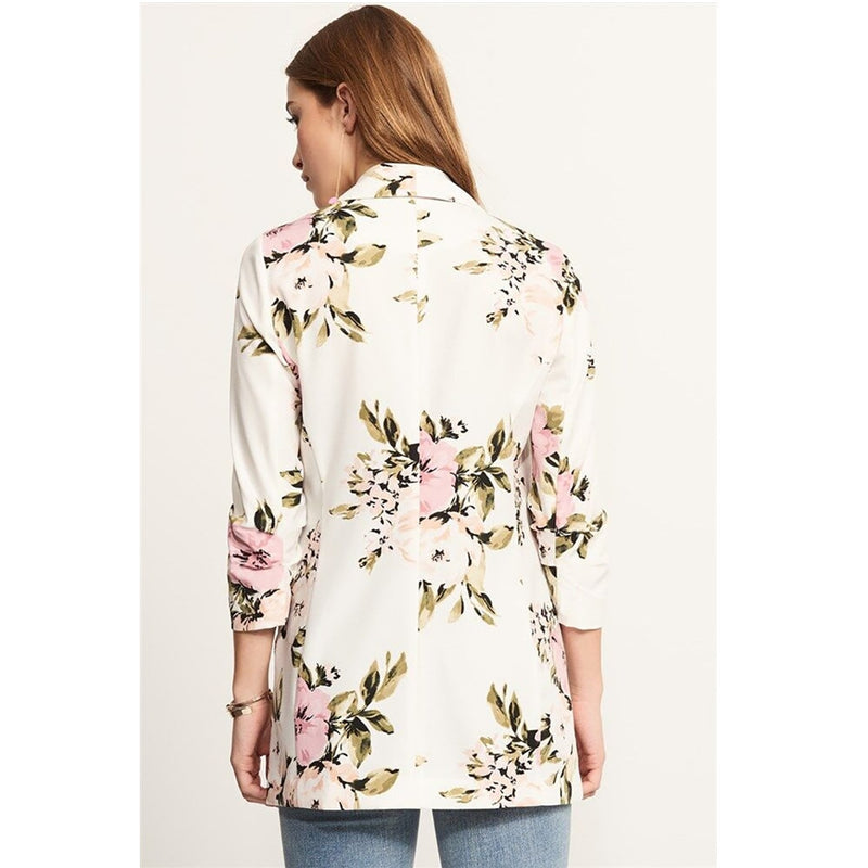 Fashion Blazer For Women Floral Print Notched Casual Thin Suits Jacket Coat Blazer Outerwear Overcoat Female Blaser