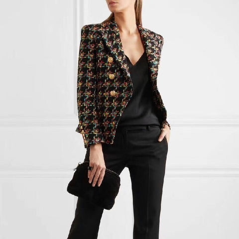 New Designer Houndstooth Tweed Blazers Women Double-Breasted Lapel Blazer Notched Autumn Lady Long Sleeve Coats