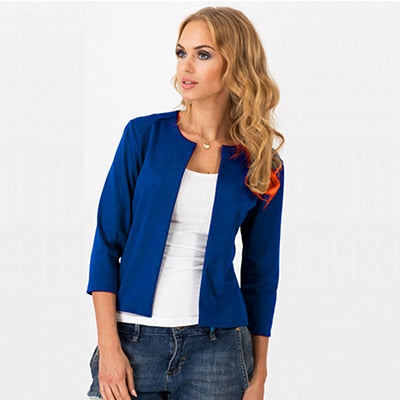 Short Three Quarter Slim Business Blazers Women Solid No Collar Open Stitch Suits Office Ladies Elegant Blazer Spring Autumn