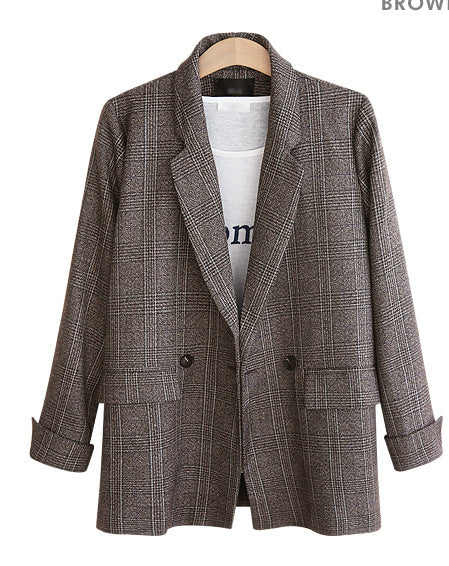 Extra large code European and American women's plaid suit jacket OL professional was thin blazer feminino AL190404