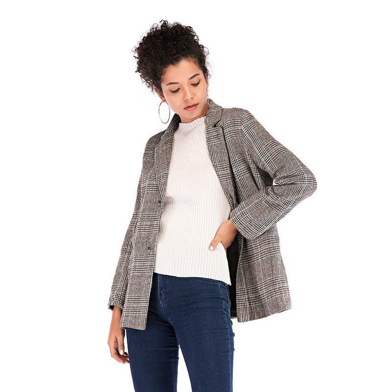 Autumn Winter New style high quality Retro plaid Suit Women blazers and jackets Womens Formal Coat Women Casual Blazer coat