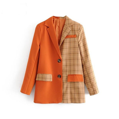 Women Checked Patchwork Solid Orange Blazer Long Sleeve Double Pocket Ladies Office Work Jacket Plaid Outerwear Coat