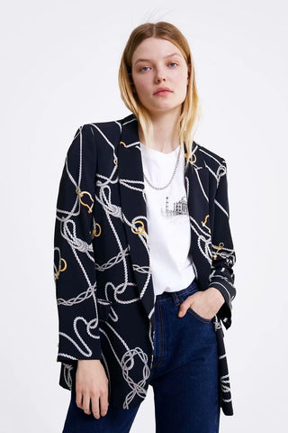 Women Fashion Notched Blazer Jacket Floral Print Suit Spring Outerwear Office Lady Work Coat Single Button Women Clothing