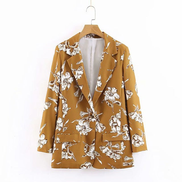 Spring Autumn Floral Blazer Womens Ladies Stylish Flower Printed Chic Casual One Button Slim Suit Coat Jacket Blazer Outwear