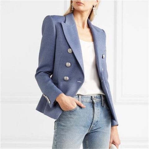HIGH STREET New Fashion Stylish Blazer Jacket Women's Silver Lion Buttons Double Breasted Blazer Outer Wear