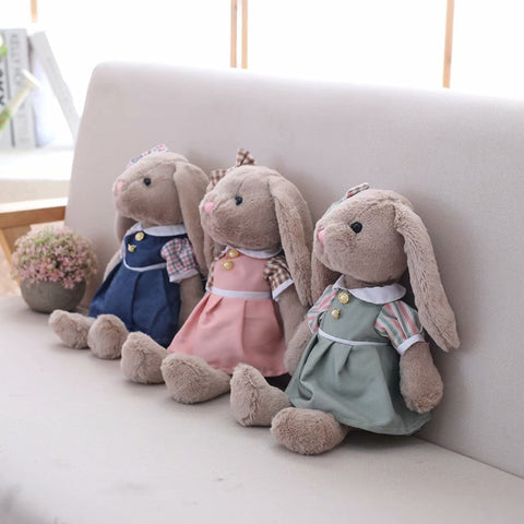 Export Grey Rabbit Plush Toy Bunny With Skirt Doll Stuffed Soft Cartoon Animal Doll High Quality Kids Girls Birthday Gift