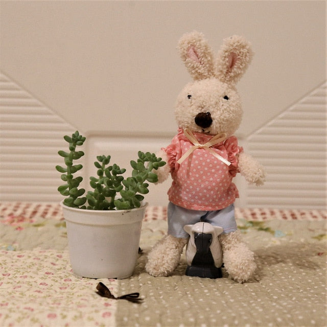 Mini 18cm Rabbit Plush Pendant Dolls Bunny Bag Pendants Keychain Stuffed Animals Toys Clothes Bears Doll Toy for Girls Gifts