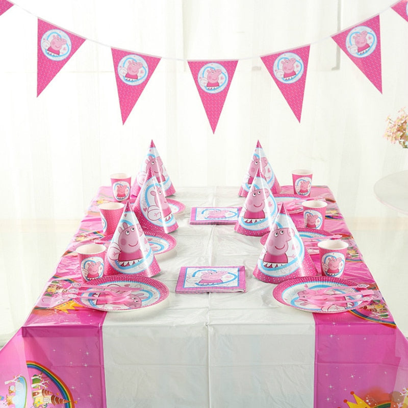 9pcs Suit Peppa Pig Birthday Party Gifts Sets Decoration Supplie