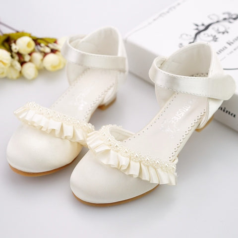 Children Princess Sandals Kids Girls Wedding Shoes High Heels Dress Shoes Bowtie Lace beading Shoes For Girls White Pink