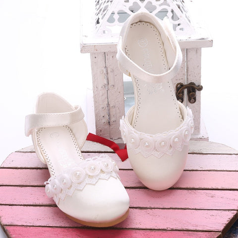 Princess Girls Sandals Kids Shoes For Girls Dress Shoes Little High Heel Pearl lace shoes Spring Party Wedding Sandals