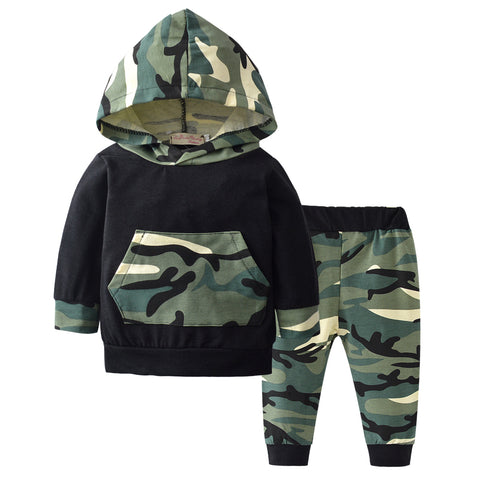 Fashion Baby Boy Girl Clothes Long Sleeve Camouflage Hoodie Tops+Pants Newborn 2Pcs Outfit Infant Clothing Set