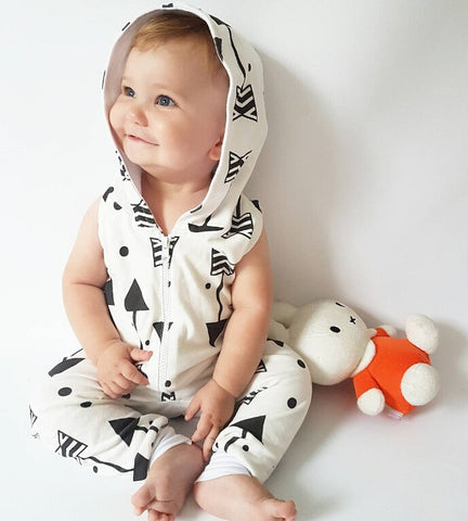 Summer Cotton Newborn Infant Baby Boys Girls Romper Arrow Cute Zipper White sleeveless Hoodies Romper Jumpsuit Outfits Clothes