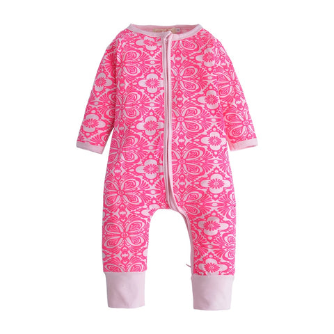 f68b32669 New Autumn Baby Rompers Long sleeve Romper Cute Flower Zipper Jumpsuit  Newborn Toddler Baby Boy Girl