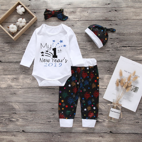 Newborn Baby Boys Girls Clothes Long Sleeve Letter Print T Shirt Comfy Pants and Hat Headband 4Pcs Outfits Set Infant Clothing