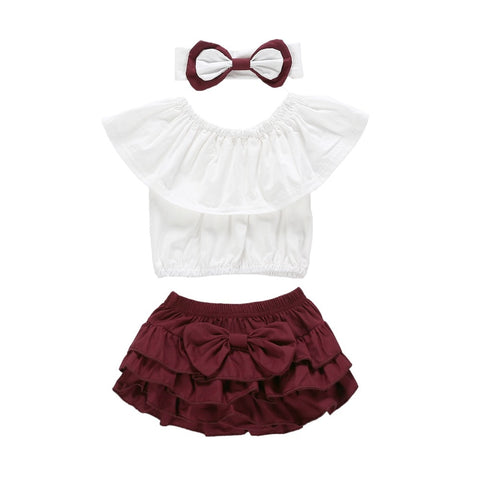 d7989936ddf 3Pcs Kids Clothing Baby Girls Outfit Clothes Sets Ruffle Tops Short Sleeve  Shorts Headband Casual Set