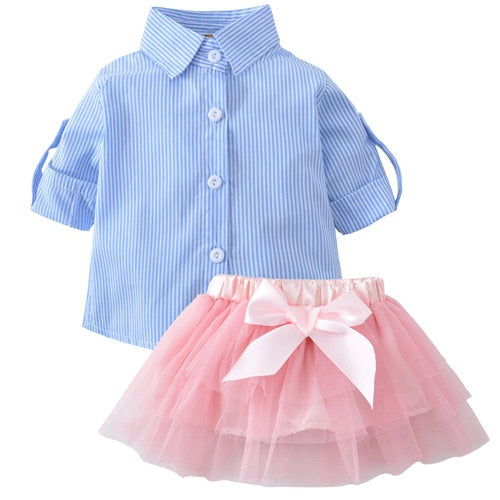 339f6af609c2bb ... Summer kids Baby Girls Clothes Shirt T-shirt Tops +Lace Tutu Skirt Bow  2pc ...