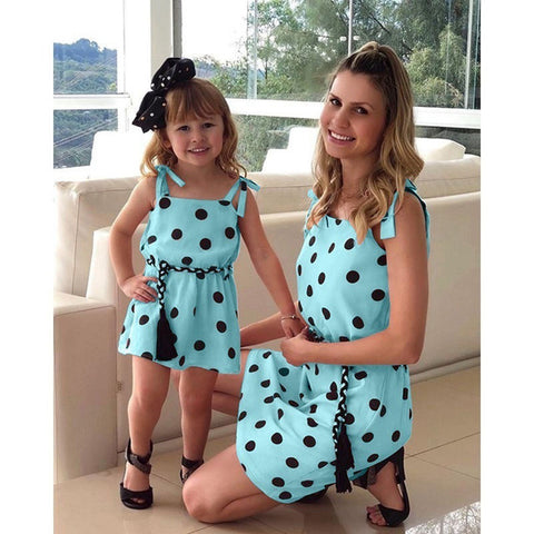 11ce10db0f Dot Sleeveless Mother and daughter Matching Dresses Family Look mommy and me  Clothes mom Baby Girl