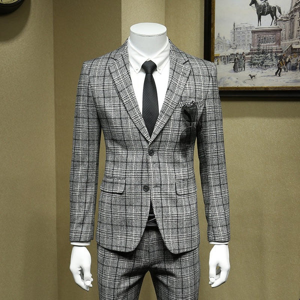 British Formal Grey Plaid Wool Blazer Suit Men Office Costume Homme Bridegroom Wedding Suits Jacket+Vest+Pants Woolen 3pcs Set