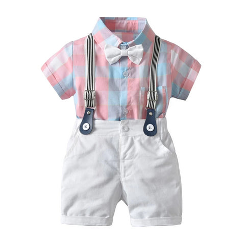 Baby Boy Romper Clothing Sets New Newborn Infant Gentleman suits pink Tie jumpsuit+Overall 3PCS Bebes Outfits Set Clothes