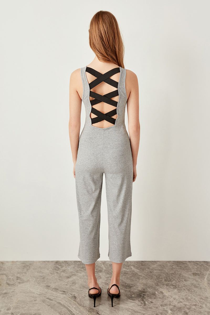 Gray Ridge Cross Belt Knitting Jumpsuits