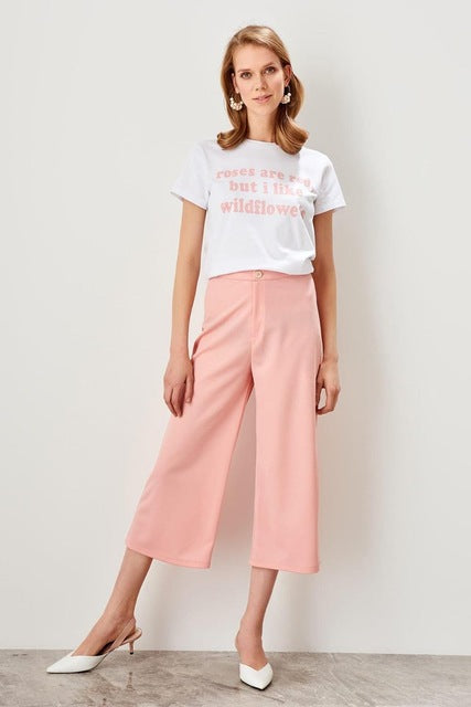 Salmon Pink High Waist Straight Leg Pants Lyocell Women's Trousers Spring Office Lady Workwear Pants