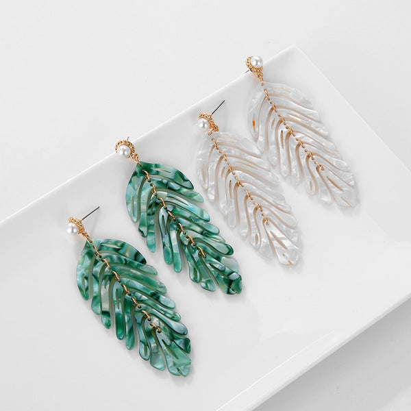 Personality Brand Leaf Acrylic Plant Dangle Earrings Pearl boucle femme for Women Party Jewelry Gift New