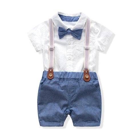 Infant boys rompers clothing sets baby gentleman suits tie bow romper + Bib short overalls children kids 1 st wedding party