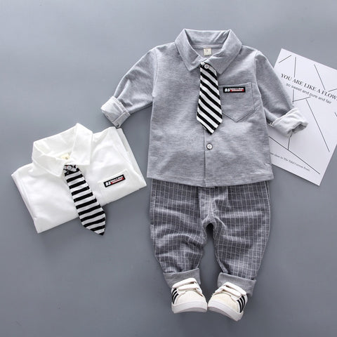 New Spring Baby Boys Clothing Formal Infant Gentleman Tie Shirt Pants 2Pcs/Sets Kids Clothes Cotton Children Leisure Suits