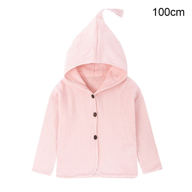 Children Kid Autumn Spring Cotton Linen Hooded Tops Solid Color Tassel Decor Coat NSV775