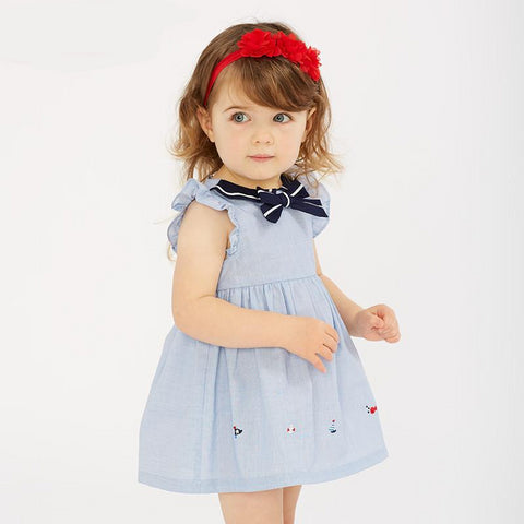 Summer baby girl's princess cute bows solid dress children fashion party dress kids infant clothes