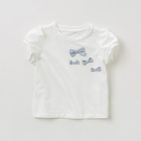Summer baby girls fashion T-shirt children  bow solid tops girls high quality pullover kids lolita tees